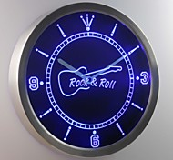 nc0296 Rock and Roll Guitar Music Neon Sign LED Wall Clock