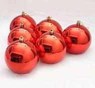 6 pcs decorações de natal pendurado gota brilhando bolas chapeamento (φ = 8 centímetros)