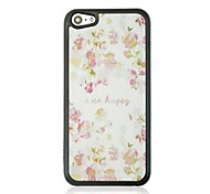 Pink Flower Leather Vein Pattern Hard Case for iPhone 5C