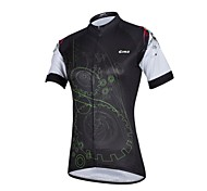 CHEJI Women's Carp High Quality Ultraviolet Resistant Terylene Short Sleeve Cycling Jersey—Black+Green