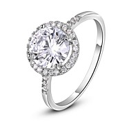 Classic Hearts Arrows Ideal Cut Swiss Cubic Zirconia Diamond Halo Engagement Ring