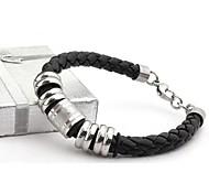 Men's Fashion Personality Titanium Steel Leather Woven Clover Design Bracelets