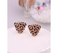 Fashion Triangle Leopard Alloy Clip Stud  Earrings for Women in Jewelry