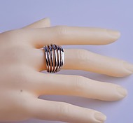 Lureme®Simple Style Seven Row Hollow Out Alloy Ring