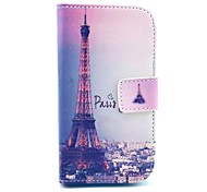 Eiffel Tower Pattern PU Leather Cover Case with Stand for Samsung Galaxy Trend Lite S7390/S7392