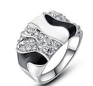 klassische echte österreichische Kristallplatin überzog weißen und schwarzen Ring Schmuck Party