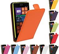 patrón de color sólido de cuero genuino caso de cuerpo completo para Nokia Lumia 520