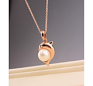 Fashion Dolphin Pearl Gold Plated Korea Necklace for Women In Jewelry