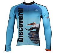 PaladinSport Men's  Summer and Autumn Style 100% Polyester Flamingo Sky Blue Long Sleeved Cycling Jersey