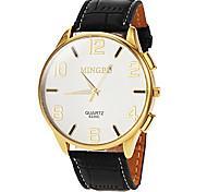 Caixa de relógio de ouro ocasional pulseira de couro de pulso de quartzo dos homens (cores sortidas)