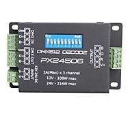 3a 3 canales DMX inteligente px24506 amplificador excitador 512 decodificador para rgb luces (cc 12-24) llevó