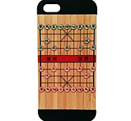 Kyuet Painted Clear Demarcation Line Between Relief Natural Bamboo+PC Cell Phone Case for Iphone5/5s