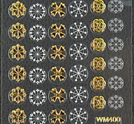 3D False Nail Art Stickers Decals Nail Accessory Christmas Gold Snowflake for Nail Tips DIY Nail Art Decorations