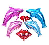 7 pc doccia membrana di alluminio delfino mare oceano bambino compleanno set festa palloncino