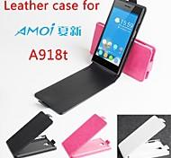 vendita calda cassa di cuoio dell'unità di elaborazione del cuoio di vibrazione 100% per Amoi a918t su e giù per smartphone a 3 colori