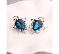 Fashion Korea Drop Blue Marquis Zirconia Stud Earrings for Women in Jewelry