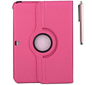 360 Rotatable Leather Lichee Pattern Case  and Pen with Stand for Samsung Tab 4 10.1 T530