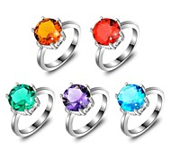 Classic Round Amethyst Blue Topaz Red Quartz Brazil Citrine Green Quartz Gemstone Silver Ring 1PC