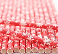Paper Drinking Straws Snow Design Paper Straws for Christmas (25 PCS)