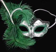 Green Feather PS Half Face Halloween Party Mask