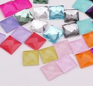 Z&X®  8MM DIY 50 PCS Candy Color Flat Square Decorative Glass Rhinestone(Random Color)