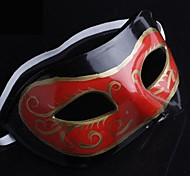 Back-to-ancient Jazz Black and Red Clouds PS Half Face Halloween Party Mask