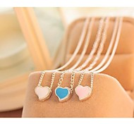 Love Is You Contracted Small Hearts Blue Paint Silver Necklace