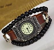 personnalité perle argent antique de montre bracelet en cuir des femmes