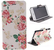 Flowers and the Beach Pattern PU Leather Cover with Stand for iPhone 6