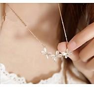 Love Is Your Fashion Cute Cat 's-eye Short Bowknot Rhinestone Diamond Necklace