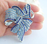 Women's Vintage Alloy With Blue Rhinestone Crystal Bowknot Brooch Costume Jewelry
