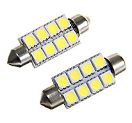 8*5050 SMD LED 41mm Car Interior Dome Festoon White Bulb Light (DC12V 2PCS)