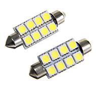 8*5050 SMD LED 41mm Car Interior Dome Festoon White Bulb Light (DC12V 2PCS)
