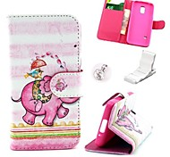 Pink Elephant Fountain Pattern PU Leather Case and Mini Display Stand with Diamond Dust Plug for Samsung Galaxy S5 Mini