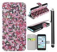 Red Rose Pattern PU Leather Full Body Case with Stand and A Stylus Touch Pen for iPhone 5C