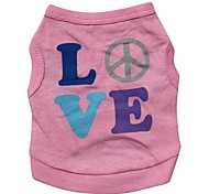 Lovely LOVE Pattern 100% Cotton Vest for Dogs (Pink XS-L)