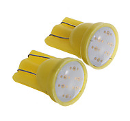 T10 1W COB 60LM Yellow Light LED Bulbs for Car Instrument/Side Marker Lamp(DC12V 2pcs)