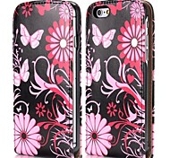 Butterfly and Flowers Fashion Vertical Style Magnetic Flip PC+PU Leather Case for iPhone 6