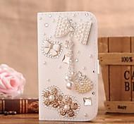 Diamant Perle bowknot PU-Leder Ganzkörper-Case mit Ständer und Card Slot für iphone 5c