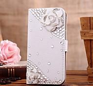 Diamant Kamelie PU-Leder Ganzkörper-Case mit Ständer und Card Slot für Samsung Galaxy S4 i9500