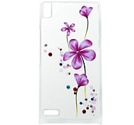 Violet Pattern Rhinestone Jewelry Hard Case for Huawei Ascend P6