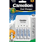 Camelion Super Fast Charger for AA/AAA Battery with 4 pcs AlwaysReady 2100mAh Ni-MH AA Rechargeable Batteries