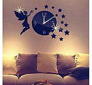 3d diy estilo moderno anjo novo acrílico menina estrelas espelhar relógio de parede