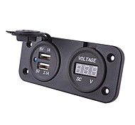 Waterproof USB Car Charger Voltmeter Combination with Charger -Black
