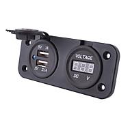 usb chargeur de voiture imperméable combinaison de voltmètre avec chargeur noir