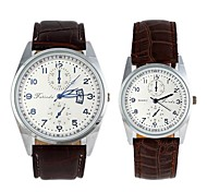 Fashionable Lover's Round Dial Waterproof Leather Watchband With Pointer Wrist Watches Brown (1Pc)