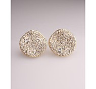 Korea Fashion Round Imitation Diamond Alloy Stud Earrings for Women in Jewelry