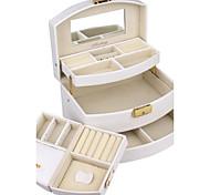 supplémentaire noir simili cuir boîte à bijoux vitrine moderne pour les bagues bracelets collier avec auto tiroir ouvert