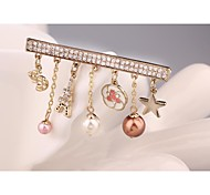 Fashion OL Gold Plated Pearl Star Tower Brooch for Women In Jewelry