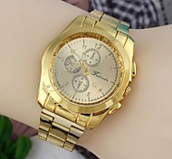 Fashionable Men's 45mm Round Dial Stainless Steel Watchband Wrist Watches Gold(1Pc) A Style
